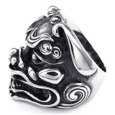 Mens Stainless Steel Ring, Heavy Large Gothic Lion, Black Silver