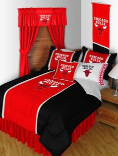 Chicago Bulls 8 Pc QUEEN Comforter Set and One Matching Window Valance/Drape Set [84 Inch Drapes] (Comforter, 1 Flat Sheet, 1 Fitted Sheet, 2 Pillow Cases, 2 Shams, 1 Bedskirt, 1 Matching Window Valan