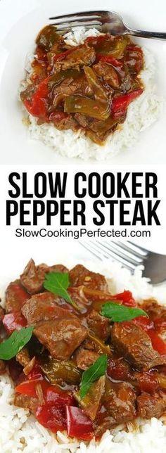 Super Tasty Slow Cooker Pepper Steak