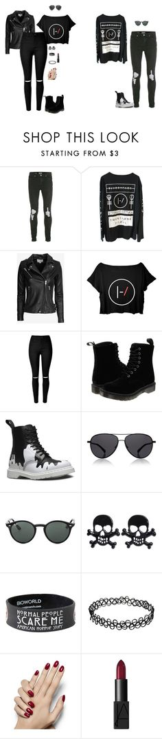 """Twenty One Pilots Couple"" by hanakdudley ❤ liked on Polyvore featuring Topman, IRO, Dr. Martens, The Row, Ray-Ban, NARS Cosmetics, women's clothing, women, female and woman"