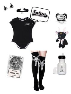 """Satan's little baby"" by damageddoll ❤ liked on Polyvore featuring goth, satanic and ddlg"