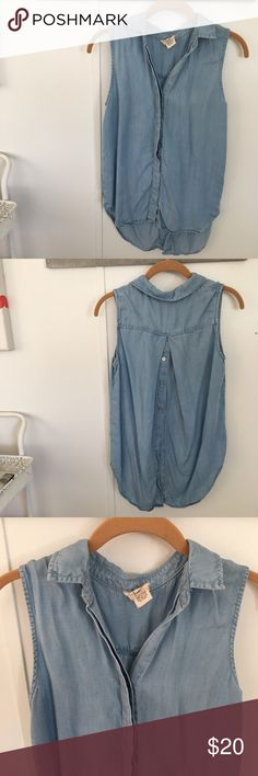 Andrea Jovine chambray sleeveless top AJ brand chambray top with a button up front and a button up back, looks great with jeans! Only worn a couple of times. Size S but fits loosely. The fabric is heavy so it hangs nicely but is still very cool in the summer. :) listed as Free People for exposure. Free People Tops Blouses