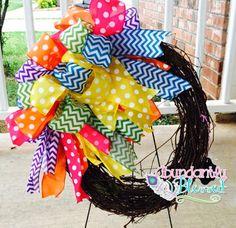 Summer Funky Bow Grapevine Wreath by AbundantlyBlessed722 on Etsy https://www.etsy.com/listing/229318116/summer-funky-bow-grapevine-wreath