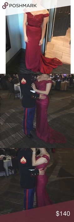 Burgundy Off the Shoulder Gown ♡ Worn once for the Marine Corps Ball ♡ In great condition and even has a loop underneath the train to put around your wrist if you don't want it dragging ♡ I'm 5'3 and wore 4 inch heels with this gown ♡ It doesn't have a size on it but is a true 4, my measurements are 34-26-36 ♡ This is great for weddings, military balls, prom, etc. Popular dress seen on Pinterest ♡ Dresses Prom