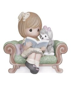 Another great find on #zulily! Girl Reading Book To Puppy Figurine #zulilyfinds
