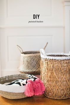 DIY Painted Baskets | Photography : SMP Living Read More on SMP: http://www.stylemepretty.com/living/2016/04/14/give-your-baskets-a-quick-chic-spring-makeover/