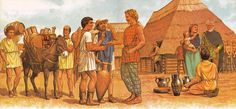 Celts of the Alpine region trade with Greeks from the Gallic Colony of Massalia. Artwork by Peter Connolly.