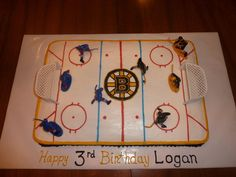 Boston Bruins Hockey Birthday Cake - definitely change the logo :) Hockey Birthday Cake, Hockey Birthday Parties, Sports Themed Birthday Party, Hockey Party, Third Birthday, Birthday Bash, Birthday Ideas, Birthday Stuff, Hockey Cakes