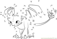 How to train your dragon - Toothless dot to dot printable worksheet - Connect The Dots Pusheen Coloring Pages, Pokemon Coloring, Colouring Pages, Printable Coloring Pages, Coloring Pages For Kids, Coloring Books, Dragon Birthday Parties, Dragon Party, How To Train Your
