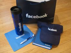 facebook: hat, bag, mug, notebook, pen