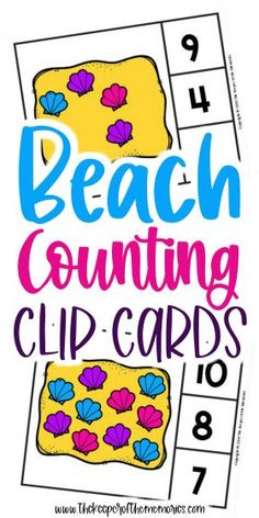 Beach Counting Clip Cards are a wonderful way to practice number recognition and counting skills with your little kids. Don't forget to grab yours today! #preschool #math #beach #seashells #centers #counting #numbers Sensory Activities Toddlers, Kids Learning Activities, Preschool Themes, Preschool Printables, Fun Learning, Preschool Activities, Preschool Worksheets, Printable Worksheets, Free Printable