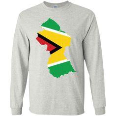 Guyana flag G240 Gildan LS Ultra Cotton T-Shirt