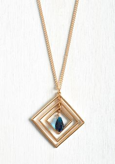 Geo Brio Necklace. Looking down to see this long gold necklace swaying against your fab outfits never fails to sparkle your spirit. #blue #modcloth