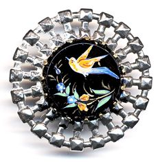 Button--Large 19th C. Enameled Black Glass Bird & Flowers in Very Bright Steel