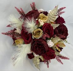 Cream Flowers, Pink Brown, 4th Of July Wreath, My Ebay, Christmas Wreaths, Burgundy, Bouquet, Bridal, Holiday Decor