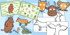The Gruffalo Story Sack Resource Pack. Free to download - role play masks, colouring sheets, story cut outs, stick puppets and word mats.