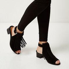 Sandales en daim noir à franges et talons carrés - Sandales à talons - Chaussures/bottes - femme