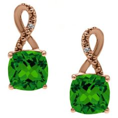 Rose Gold Cushion-Cut Emerald Birthstone Diamond Drop Earrings Jewelry Available Exclusively at Gemologica.com