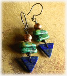 Inspiration-( could try to make something like it w/polymer clay) : These Beautiful Lapis Lazuli  African Turquoise, Triangle  Earrings are by ChrysalisToo on etsy, $34.00