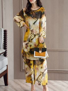 Casual Loose Print Long Sleeve O-Neck Two-Piece Suit For Women