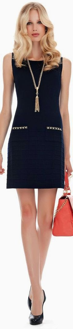 Women's fashion | Chic navy dress, necklace, heels, handbag