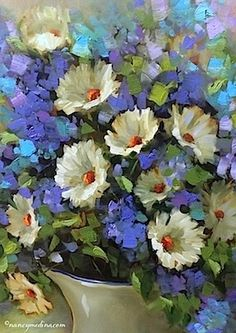 Blue Dapple White Daisies - Flower Paintings by Nancy Medina, painting by artist Nancy Medina
