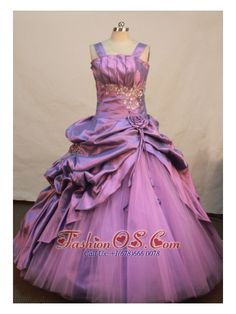 Lavender Taffeta and Tulle Straps Neckline Appliques and Flowers Decorate Flower Gril Pageant Dress    http://www.fashionos.com  http://www.facebook.com/quinceaneradress.fashionos.us   The ruched bust and the stunning beading below contours the waist while the two taffeta straps indicate a sense of elegance. Accented by the bubble and the delicate hand flowers, the skirt is elegant and modest. The lace up back copmpletes the look.