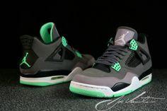 f1e81a49f156 Air Jordan IV Dark Grey Green Glow Cement Grey Black 308497 033 Jordan Iv