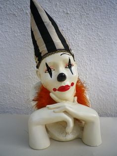 Clown Bust Vintage Glazed Plaster Big Pierrot.