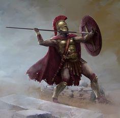 Artwork by Stefan Kopinski Greek History, Ancient History, Ancient Rome, Ancient Greece, Fantasy Character Design, Character Art, Spartan Tattoo, Greek Soldier, Roman Warriors