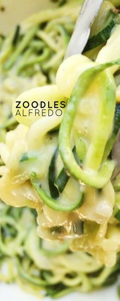 Lightened up Alfredo Sauce with low-carb and healthy zoodles. Zucchini noodles are perfect for pairing with this delicious and healthier alfredo sauce!