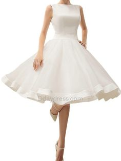 Elegant Bateau Neck A Line Short Beach Wedding Dress Prom Dress #ddaydress #wedding #prom #beachdress