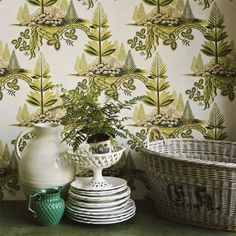 Zoffany - Luxury Fabric and Wallpaper Design | Products | British/UK Fabric and Wallpapers | Fir Trees (ZFLW02001) | Fleur Rococo Wallpapers