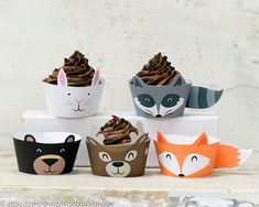 woodland animals cupcake wrappers printable fox por KudzuMonster