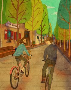 Bicycle. Love Is series by Korean artist 퍼엉(Puuung)