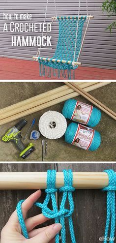 A summer must! DIY your own comfortable and stylish macrame hammock. Macarame is a centuries-old method used to make furniture, plant holders and so many other beautiful home decor items. Get the how-to here: http://www.ehow.com/how_12093464_make-crocheted-hammock.html?utm_content=buffer4e9f6&utm_medium=social&utm_source=pinterest.com&utm_campaign=buffer…