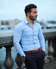 Sometimes you just need a belt to complete your whole outfit, check out for amazing belts in many different colours 👌🏻 Formal Dresses For Men, Formal Men Outfit, Casual Wear For Men, Men's Formal Wear, Formal Shirts For Men, Mens Dress Outfits, Stylish Mens Outfits, Men Dress, Casual Outfits