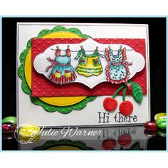 """Card made by Julie Warner using Serendipity Stamps """"Aprons"""" and """"Hi There"""" rubber stamps"""