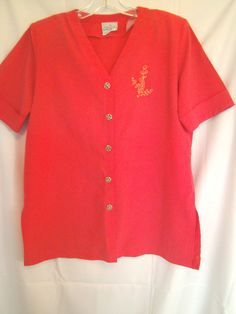 Park Place Coral Short  Cuffed Sleeve Top Size Small V Neck with Gold Button