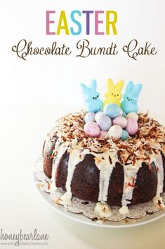 Chocolate Bundt Cake Easter Chocolate Bundt Cake: Such a fun cake for Easter--easy too! Easter Chocolate Bundt Cake: Such a fun cake for Easter--easy too! Easter Recipes, Holiday Recipes, Easter Desserts, Desserts Ostern, Cake Recipes, Dessert Recipes, Chocolate Bundt Cake, Easter Treats, Easter Food