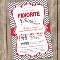 A few of my Favorite Things Chevron Invitation by ModernBeautiful, $13.00