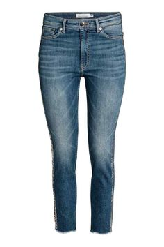 Slim High Ankle Jeans - Niebieski denim/Srebrny - ONA | H&M 149.90