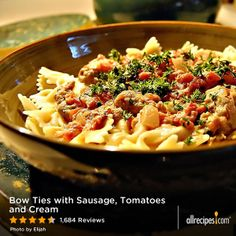 "Bow Ties with Sausage, Tomatoes and Cream | ""Made this as specified multiple times. It's excellent! Very quick to make and kids love it. Make it with a side of garlic bread, and it's great for a quick weeknight meal."""