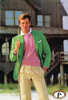 This is an example of preppy fashion. Preppy style is characterized by blazers, conservatively cut pants or skirts, tailored shirts, and leather loafers, oxfords or pumps. This style was popular among students attending preparatory schools.