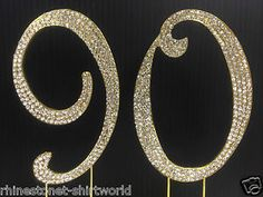 Gold Rhinestone Number 90 Cake Topper 90th Birthday Party ...