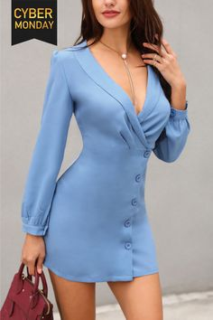 Shop work dresses solid deep v button design blazer dress fashion trends, styles and tips for women in 2018 womens fashion chicme wedding # fashion Women's Fashion Dresses, Sexy Dresses, Nice Dresses, Casual Dresses, Short Dresses, Dresses For Work, Dress Work, Outfit Work, Designer Work Dresses