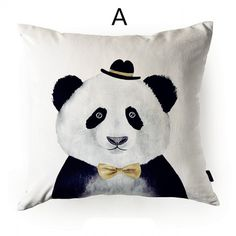 Cute panda sofa cushions hand painted style animal print pillows