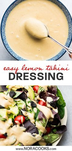 Lemon Tahini Dressing – Nora Cooks Vegan Lemon Tahini Dressing made with just 3 ingredients. Pour it over everything! Vegan Vegetarian, Vegetarian Recipes, Healthy Recipes, Vegan Raw, Tofu Recipes, Chutneys, Nutella, Whole Food Recipes, Cooking Recipes