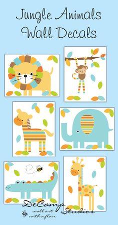 Mod Jungle Animals wall decals or 8x10 wall art prints for baby boy safari zoo nursery room decor. Includes six different animals; lion, monkey zebra, elephant, alligator, and giraffe #decampstudios