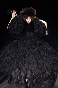 Sculptural Fashion - textured black dress with oversized proportions; wearable art // Michiko Koshino F/W 2005